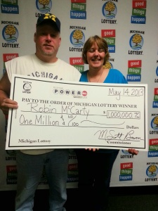 5.14.13 Powerball $1 million Robin McCarty and husband
