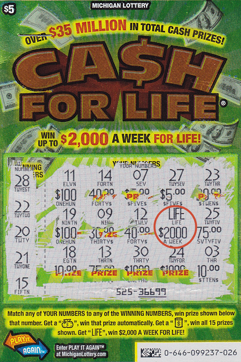 20 year old michigan lottery player wins 2000 a week with cash for 31714 actual top prize winning 5 c4l ticket with win circled in red sciox Image collections