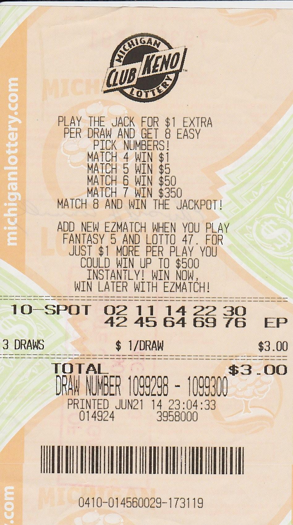Club keno michigan lottery numbers