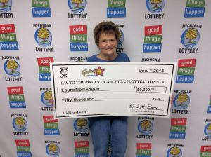 Laura Nolkemper collected her Fantasy 5 jackpot prize on Monday.