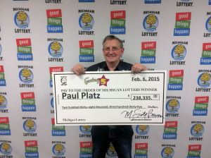 Paul Platz visited Lottery headquarters Friday to collect his $238,335 Fantasy 5 jackpot.
