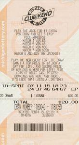 Winning Club Keno Ticket