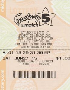 Shaun Nichols' jackpot winning Fantasy 5 ticket.