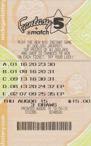 08.20.15 Fantasy 5 08.07.15 Draw $195,361 Joanne Kingman Cass County