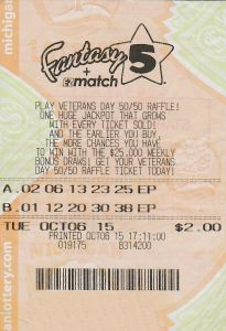 10.09.15 Fantasy 5 10.6.15 Draw $100,000 Anonymous Wayne County