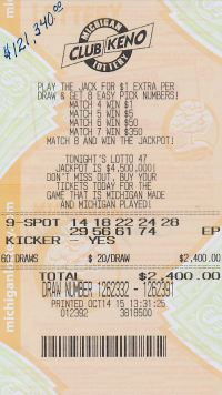 10.19.15 Club Keno Draw 1262379 $120,000 Anonymous Lapeer County