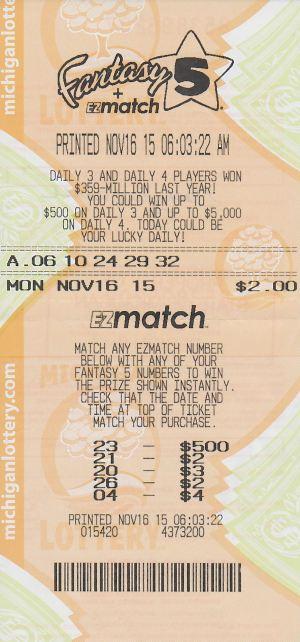 Cathy Newell's jackpot winning Fantasy 5 ticket.