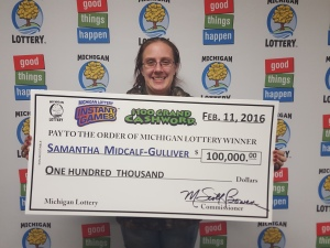 Samantha Midcalf-Gulliver of Saginaw plans special birthday after winning $100,000 playing Michigan Lottery's  $100 Grand Cashword Game.