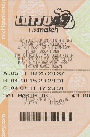 3.21.16 Lotto 47 03.19.16 Draw $1.25 Million Anonymous Wayne County