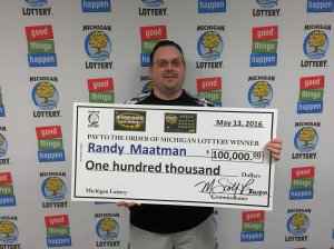 Randy Maatman smiles after winning the $100,000 top prize playing the $100,000 Tax Free online game.