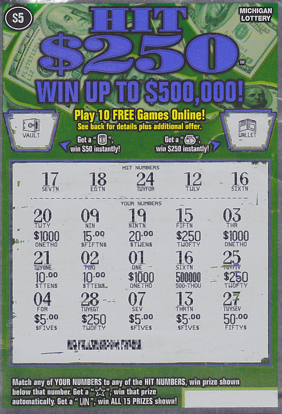 instant win scratch off play cash money