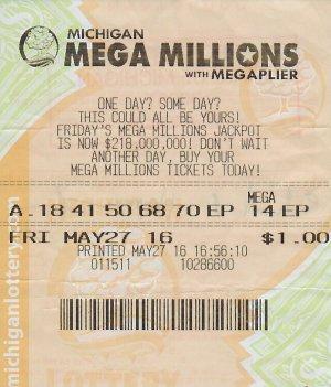 Richard Hopper Sr.'s winning Mega Millions ticket.