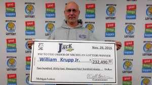 William Krupp, Jr. visited Lottery headquarters Tuesday to claim his Club Keno The Jack prize.