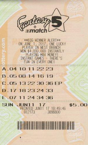 Fisher's winning Fantasy 5 ticket.