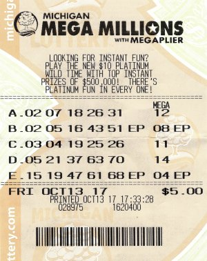 Kevin Blake's winning Mega Millions ticket.