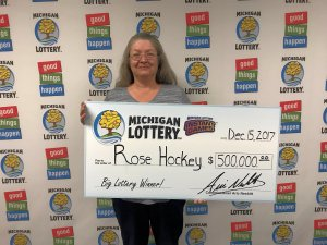 Rose Hockey smiles after winning $500,000 playing Platinum Wild Time.